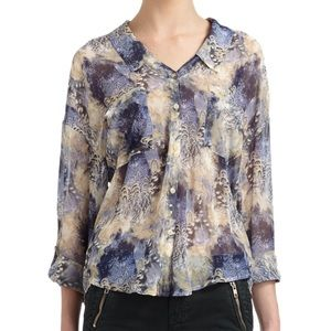 FREE PEOPLE blue easy rider blouse small